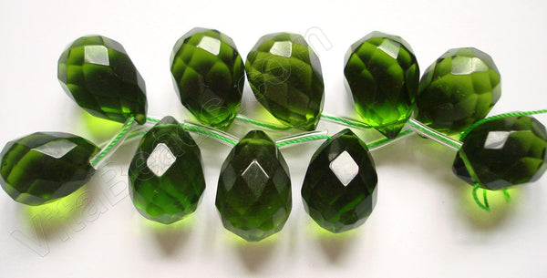 Dark Green Crystal Quartz  -  18x25mm Faceted Teardrop 8""