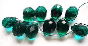 Emerald Crystal Quartz  -  18x25mm Faceted Teardrop 8""