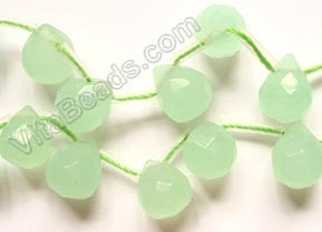 Light Green Chalcedony Quartz - 9x11mm Faceted Teardrops 16""