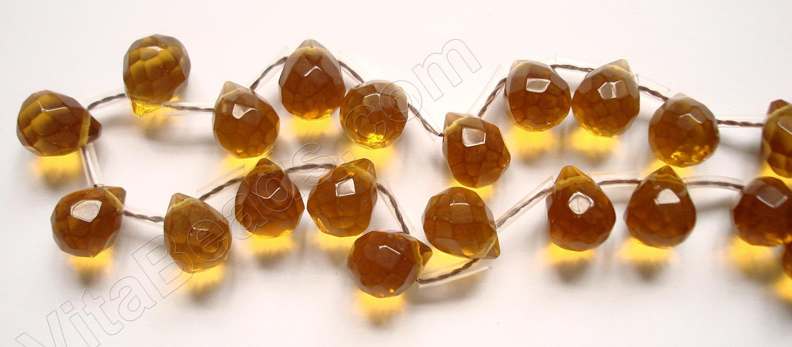 Amber Crystal Quartz - 9x11mm Faceted Teardrops 16""