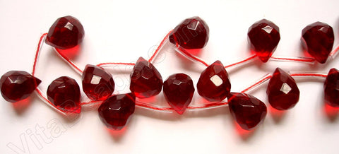 Red Win. Quartz  - 12x16mm Faceted Teardrop 16""