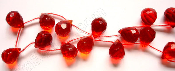 Red Win. Quartz Bright - 12x16mm Faceted Teardrop 16""