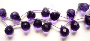 Amethyst Crystal Quartz  - 12x16mm Faceted Teardrop 16""