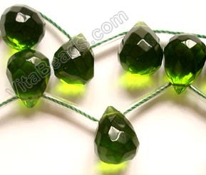 Dark Green Crystal Quartz  - 12x16mm Faceted Teardrop 16""