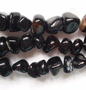 Black Agate  -  Round Chip Nuggets  16""