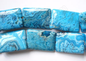 Blue Brazilian Agate  -  Puff Rectangles  16""