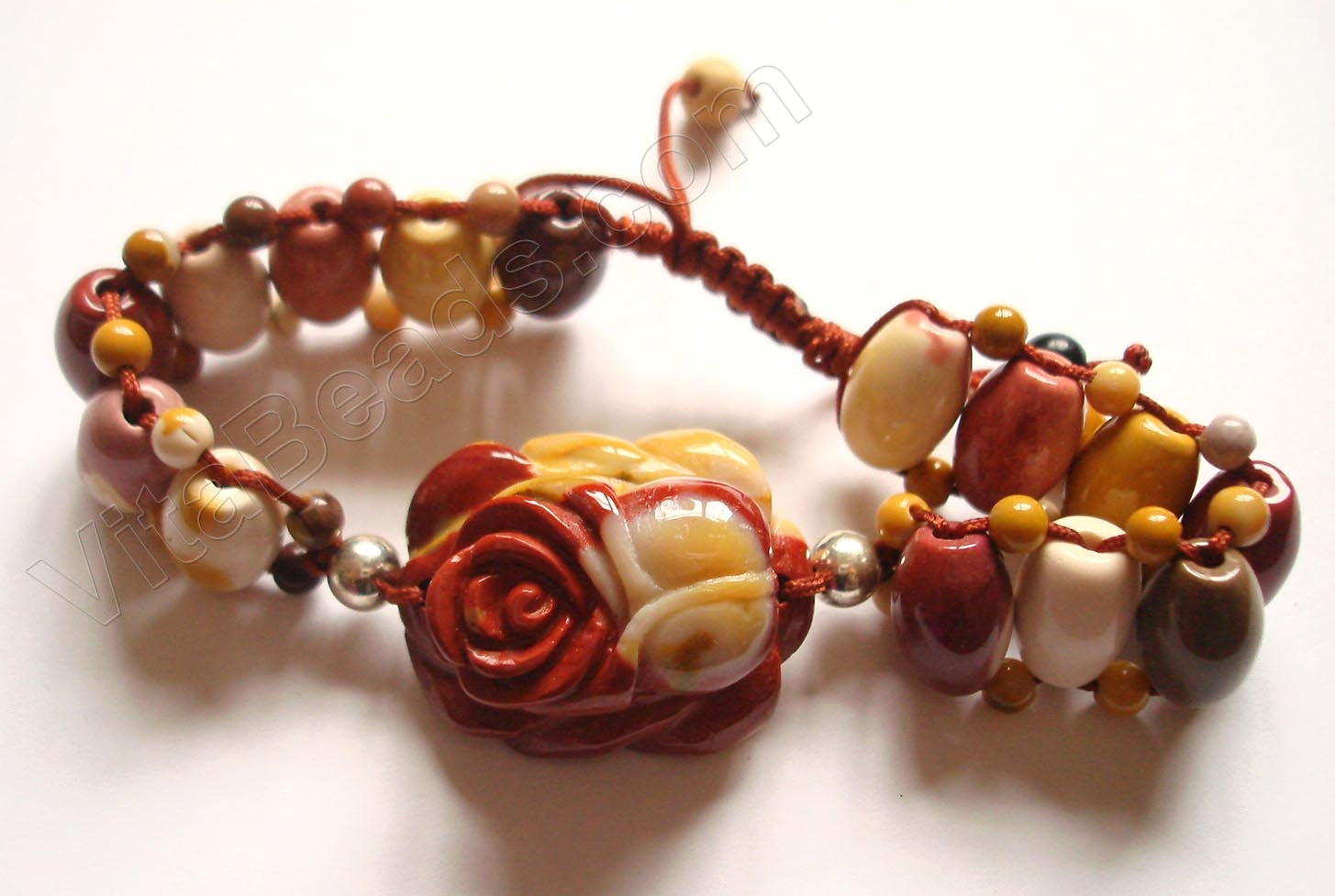 Carved Rose Bracelet - Mookaite
