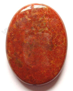 Pendant - Smooth Oval Red Fossil Jasper - Dark