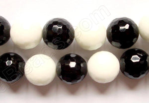 Black Onyx / White Agate -  Faceted Round  16""