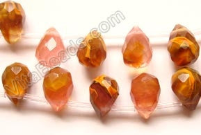Fire Cherry Quartz - 7x10mm Faceted Teardrops 16""