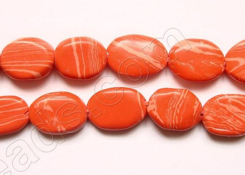 Dark Pink Coral (Manmade)  -  6-8mm Flat Oval  14.5""