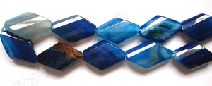 Dyed Sardonix Agate - Blue -  Faceted Twist Diamond  16""