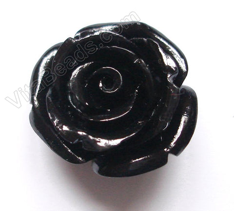 Carved Small Rose Pendent Synthetic Black Qtz