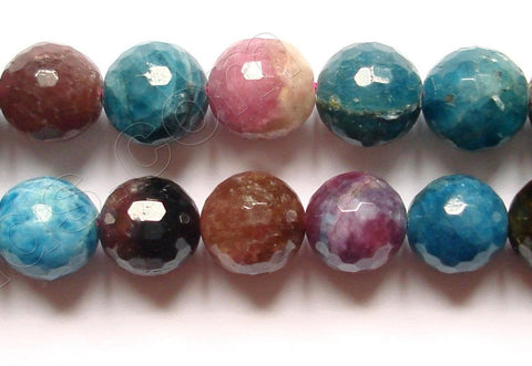 Apatite &. Tourmaline -  Faceted Round Beads  16""