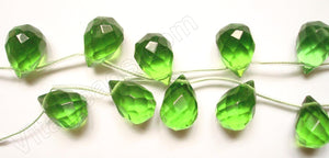 Peridot Green Crystal Quartz  - 12x16mm Faceted Teardrop 16""