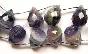 Rainbow Fluorite Dark  - 13x18mm Faceted Teardrop 16""