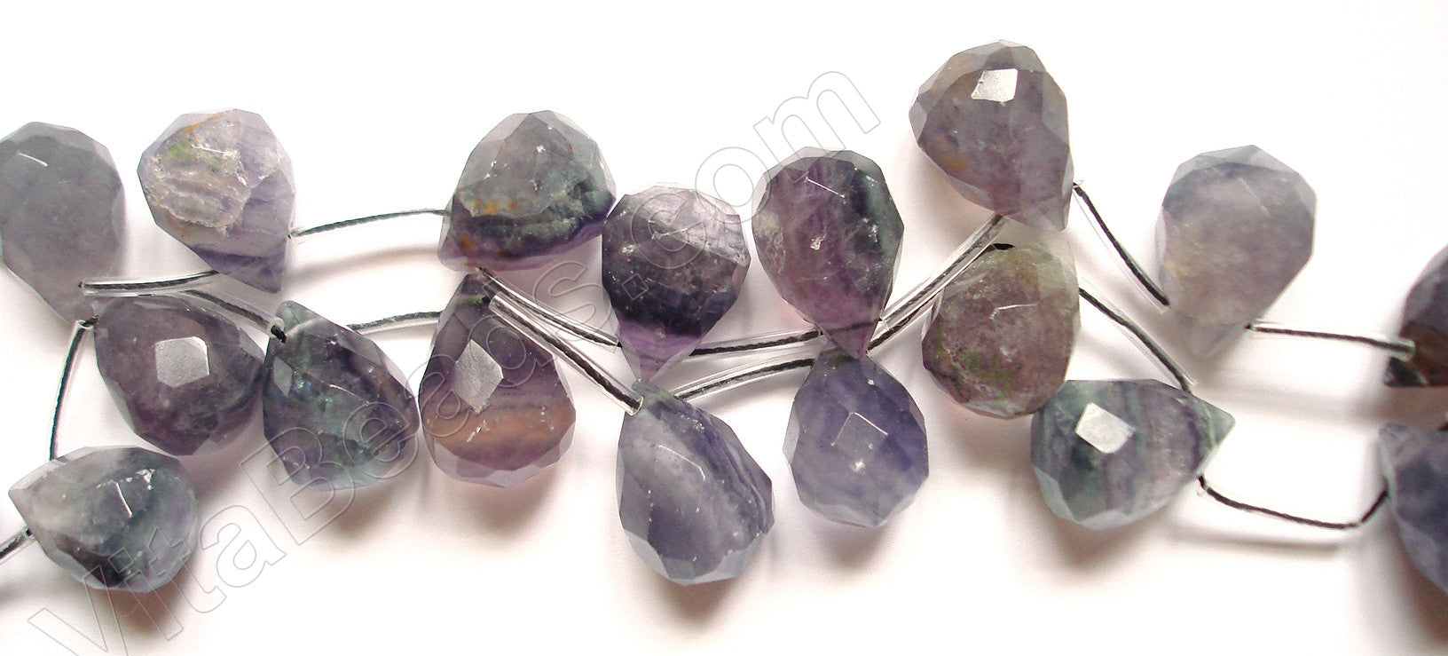 Fluorite Light - 13x18mm Faceted Teardrop 16""