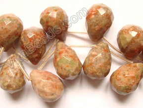 Pink Jasper  - 13x18mm Faceted Teardrop 16""