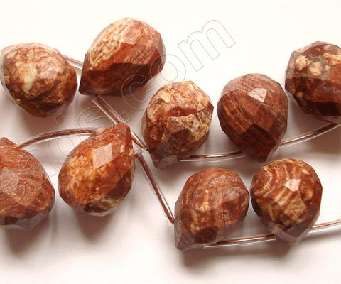Chinese Surreal Jasper  - 13x18mm Faceted Teardrop 16""