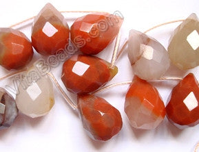 Mixed Color Carnelian  - 13x18mm Faceted Teardrop  16""