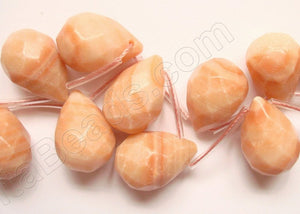 Pink Matrix Jasper Light - 13x18mm Faceted Teardrop  16""