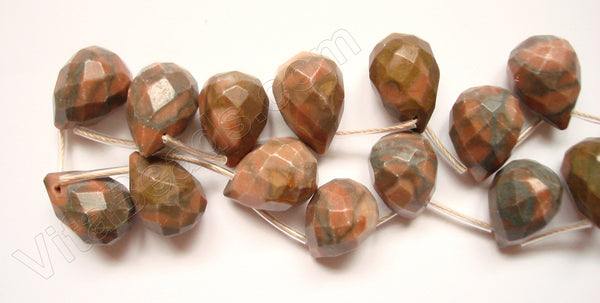 Chinese Red Zebra Jasper  - 13x18mm Faceted Teardrop  16""