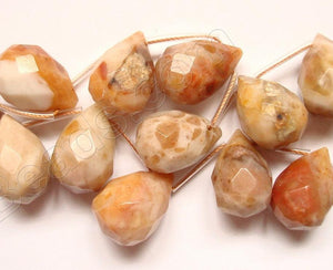 Chinese Crazy lace Agate Light - 13x18mm Faceted Teardrop 16""
