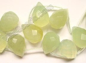 New Jade Light  - 13x18mm Faceted Teardrop 16""