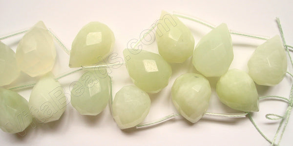 Pale New Jade  - 13x18mm Faceted Teardrop 16""
