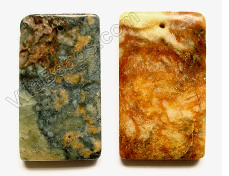 Pendant - Smooth Rectangle Fire New Jade (Dark)