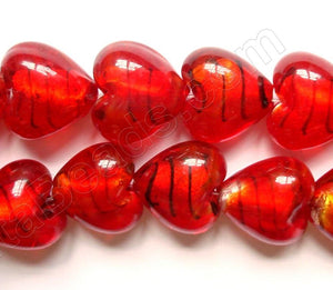 "Silver Foil Glass Beads   16""  Puff Heart - Dark Cherry with Stripes"