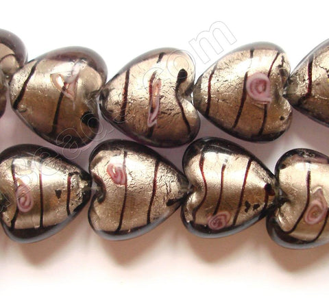 "Silver Foil Glass Beads   16""  Puff Heart - Grey with Stripes, Flower"