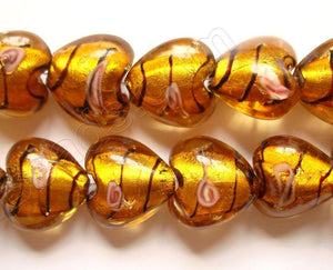 "Silver Foil Glass Beads   16""  Puff Heart - Amber with Stripes, Flower"