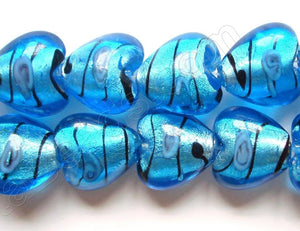 "Silver Foil Glass Beads   16""  Puff Heart - Ocean Blue with Stripes, Flower"