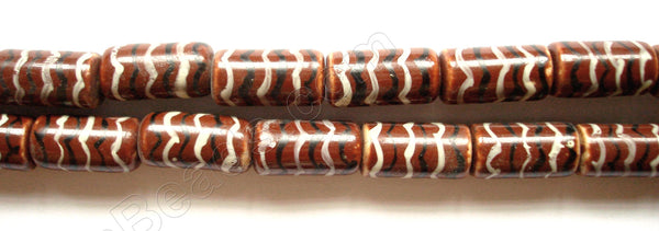 Porcelain Beads - Brown   9 x 17 mm Tube, Cylinder  - Hand painted Lines
