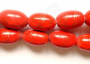 Porcelain Beads - Red   12 x 18 mm Rice Oval