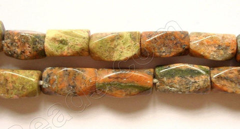 "Unakaite (India)  -  Faceted Bricks 14.5""    5 - 9 mm"