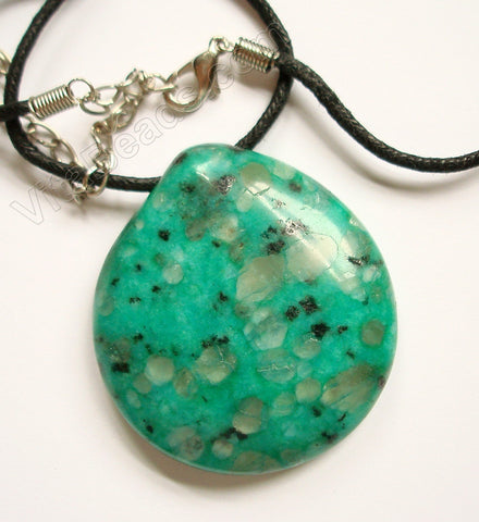 Semi Stone Almond Shape Necklace - Kiwi Emerald