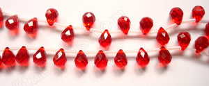 Christmas Red Crystal  - 7x10mm Faceted Teardrops  16""