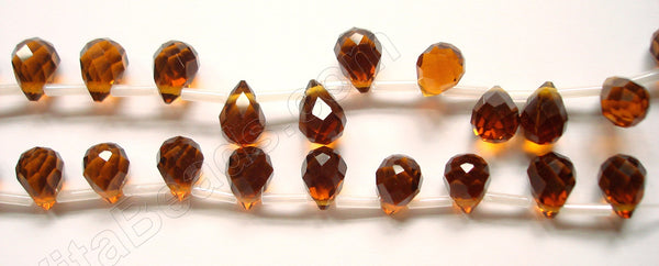 Dark Amber Crystal  - 7x10mm Faceted Teardrops  16""