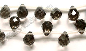 Smoky Crystal Dark - 7x10mm Faceted Teardrops  16""
