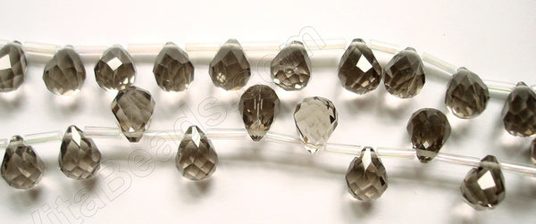 Smoky Crystal Light - 7x10mm Faceted Teardrops  16""