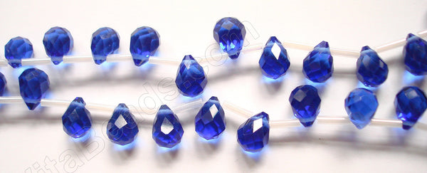 Royal Blue Crystal - 7x10mm Faceted Teardrops  18""