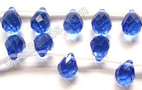Light Royal Blue Crystal - 7x10mm Faceted Teardrops 16""