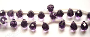 Dark Amethyst Crystal - 7x10mm Faceted Teardrops 16""