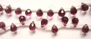 Light Red Fluorite Crystal - 7x10mm Faceted Teardrops 18""