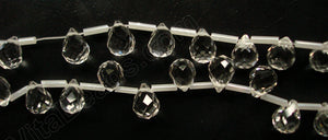 Clear Crystal - 9x11mm Faceted Teardrops 16""