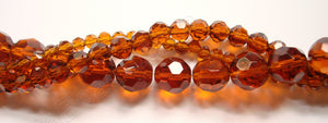 Amber Crystal  -  Faceted Round  14""