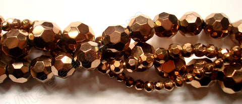 Bronzite Metallic Crystal  -  Faceted Round  14""