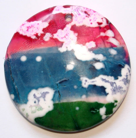 Pendant - Smooth Round   Dyed Howlite - Multi Color